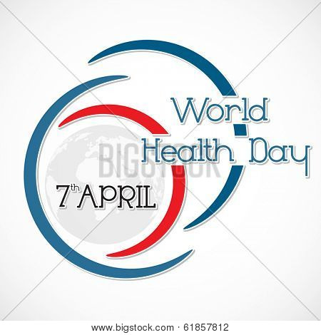 Abstract world health day concept with stylish text on grey background.