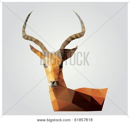 Geometric polygon antelope, triangle pattern design, vector illustration