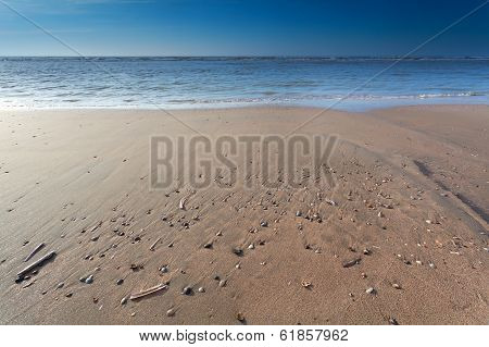 Sand Beach On North Sea At Low Tide