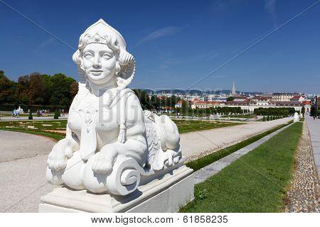 Sphinx In Belvedere Garden In Vienna