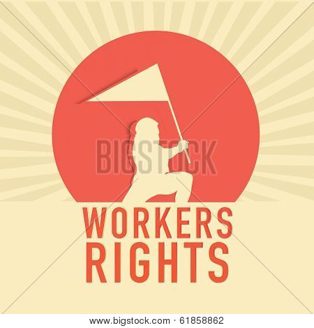 Happy Labor Day celebration vintage poster, banner or flyer design with brown silhouette of a worker holding a flag on pink and brown background.