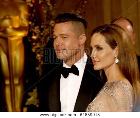 LOS ANGELES - MAR 2:  Brad Pitt, Angelina Jolie at the 86th Academy Awards at Dolby Theater, Hollywood & Highland on March 2, 2014 in Los Angeles, CA