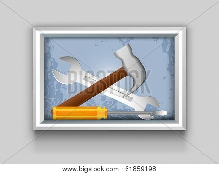 Happy Labor Day celebrations frame with tools illustration hammer and screw driver.