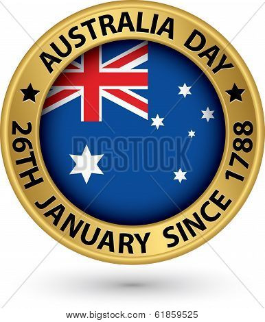 Australia Day Gold Label, Vector Illustration
