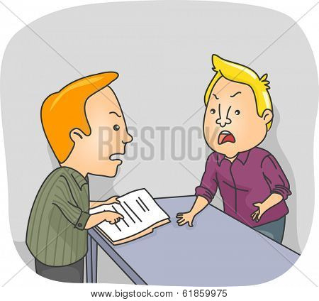 Illustration of Two Men Arguing Over a Document at Work