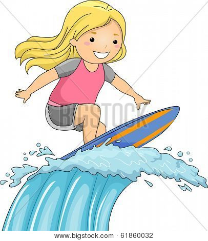 Illustration of a Little Girl on a Surfboard Riding a Huge Wave