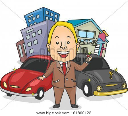 Illustration of a Wealthy Man Making a Toast to His Houses, Buildings, and Cars
