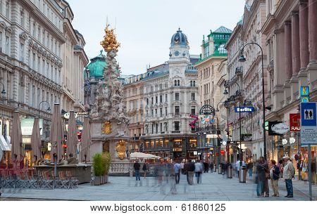 Tourists on foot Graben Street