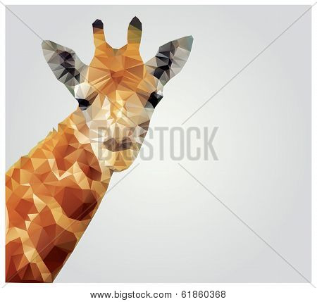 Geometric polygonal giraffe, triangle pattern design, vector illustration