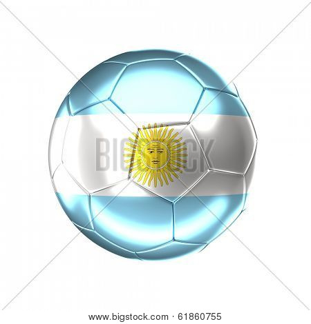 3d soccer ball with argentina  flag isolated on white