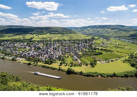 Aerial View Of Moselle River In Germany Near Punderich