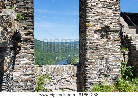 TRABEN-TRARBACH, GERMANY - JUL 23:  Ruin of castle Grevenburg with aerial view at river Moselle near