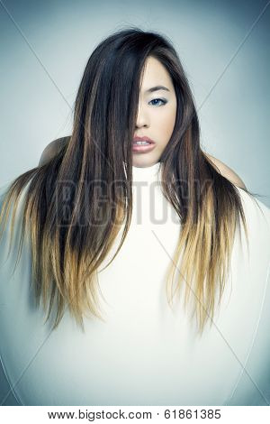Asian Girl In White Chair