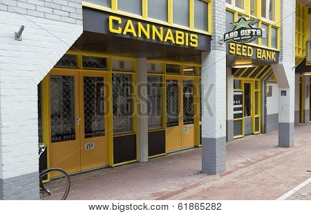 Bank of grains (seeds) of cannabis (hemp) on one of streets of Amsterdam in Holland