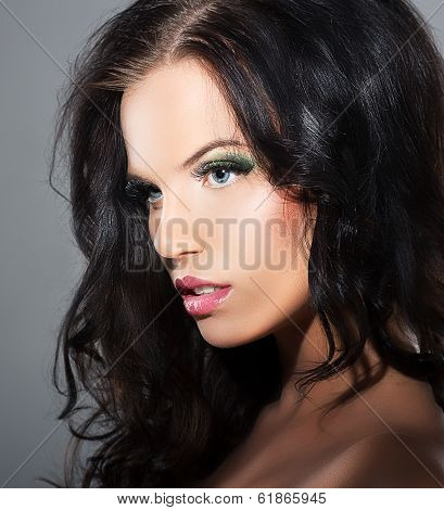 Fascination. Sophistication. Profile Of Luxurious Lovely Brunette