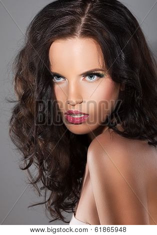 Magnetism. Character. Image Of Exquisite Refined Woman With Brown Hair