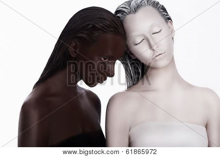 Multiracial Multicultural Concept. Ethnicity. Women Colored Brown And White. Devotion