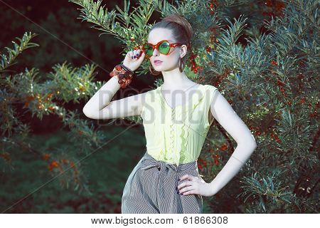 Charisma. Individuality. Luxurious Woman In Fancy Sunglasses Outside