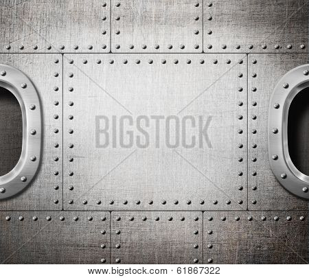 ship window or submarine aboard steam punk metal background
