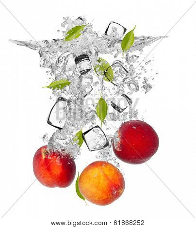 Falling pieces of nectarines in water splash and ice cubes, isolated on white background