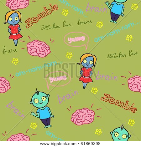 Funny seamless pattern with zombies and brain