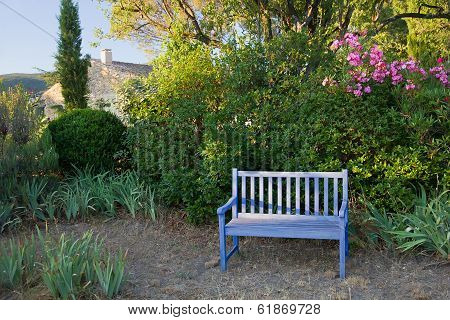 Blue Painted Wooden Garden Bench, Provence, France.