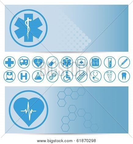 Blue Medical Banners With Icons