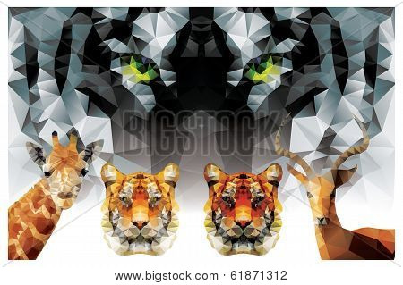 Collection of geometric polygon animals, tiger, giraffe, antelope, triangle pattern design, vector i