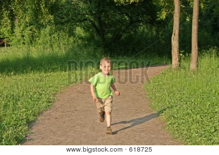 Running Boy From Wood