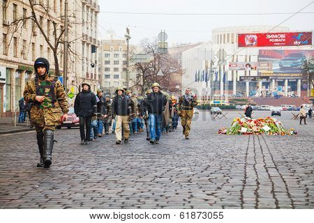 Self Defense Group Marching In Kiev