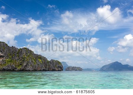 Scenic view of El Nido in Bacuit Bay in Palawan Province in the Philippines with its rocky coastline, a protected area of great natural beauty popular with tourists