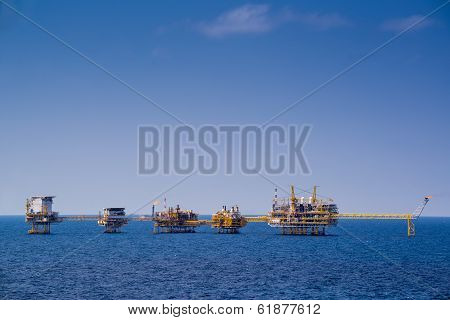 Production oil and gas platform in day time