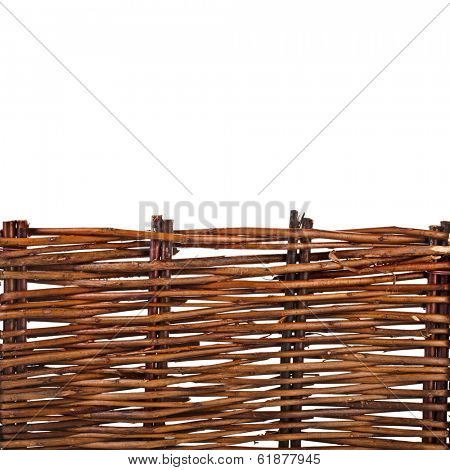 Background of interwoven wooden bars  isolated on white