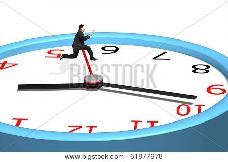 Man Jumping Over Clock Pointer