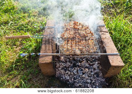 Barbecue With Delicious Grilled Meat On The Grill