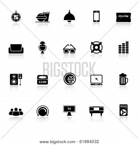 Home Theater Icons With Reflect On White Background