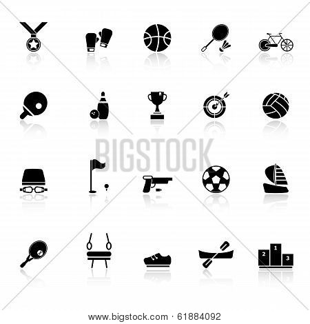 Sport Game Athletic Icons With Reflect On White Background