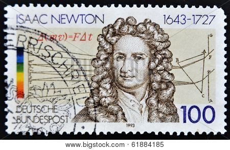GERMANY - CIRCA 1993: A stamp printed in Germany shows Isaac Newton circa 1993