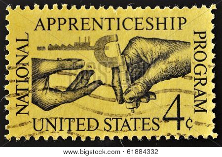 USA - CIRCA 1962: A stamp printed in the USA shows National Apprenticeship Program circa 1962