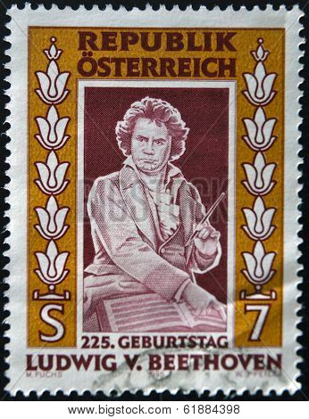 AUSTRIA - CIRCA 1995: A stamp printed in Austria shows Ludwig van Beethoven