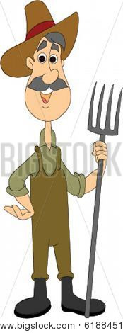 Farmer Standing with Pitchfork