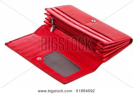 Red Ladies Wallet Isolated On White