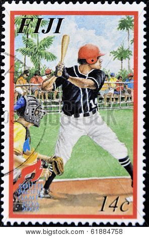 FIJI - CIRCA 2003: A stamp printed in Fiji shows the illustration of a baseball hitter circa 2003