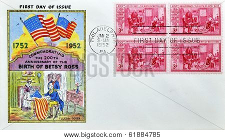 UNITED STATES - CIRCA 1952: stamp printed by USA shows Betsy Ross Showing Flag
