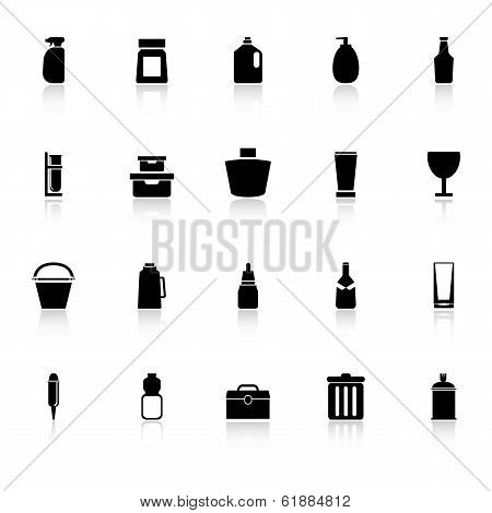 Design Package Icons With Reflect On White Background