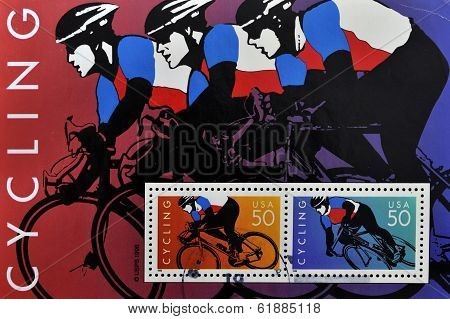 UNITED STATES - CIRCA 1996: stamp printed by United states shows cyclists circa 1996