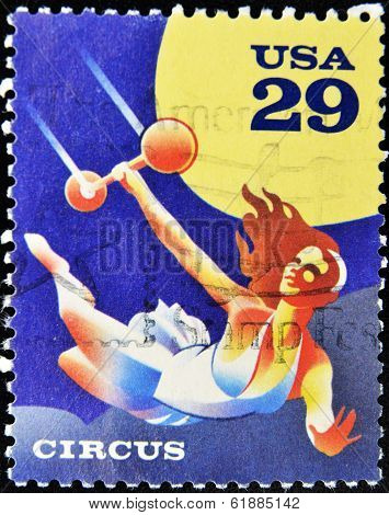 UNITED STATES OF AMERICA - CIRCA 1993: A stamp printed in USa shows a circus acrobat circus 1993