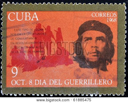 CUBA - CIRCA 1968 : A stamp printed in Cuba shows Ernesto Che Guevara- legendary guerrilla