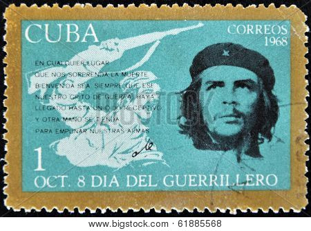 CUBA - CIRCA 1968 : A stamp printed in Cuba shows Ernesto Che Guevara- legendary guerrilla circa 196