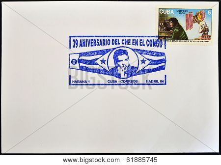 CUBA - CIRCA 1988: A stamp printed in Cuba shows the image of Che Guevara and the radio circa 1988